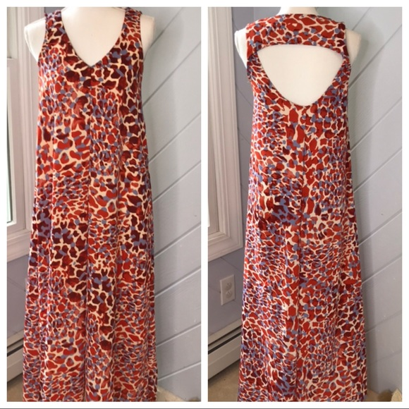 H&M Dresses & Skirts - {H&M} Maxi Dress Animal Print Open Back Tank Vneck